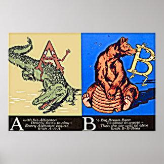 Barns ABC för för vintagebrev A och B Poster