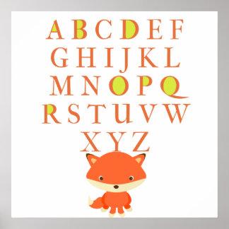Barns ABCs med den gulliga räven Poster