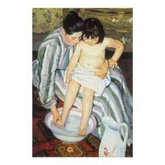 Barns bad vid Mary Cassatt vintageImpressionism Poster