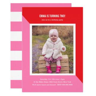 Barns födelsedag för färgkvarterfoto 12,7 x 17,8 cm inbjudningskort