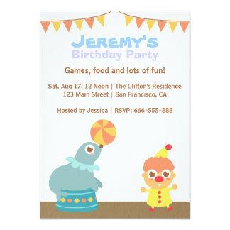 Barns födelsedagparty - cirkusclown och sjölejon 11,4 x 15,9 cm inbjudningskort