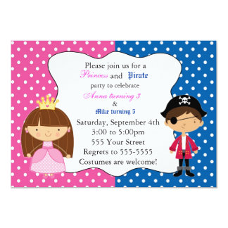 Barns födelsedagparty för Princess Piratkopiera 12,7 X 17,8 Cm Inbjudningskort