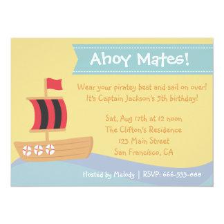 Barns födelsedagparty: Gulligt piratpojketema Personliga Tillkännagivande