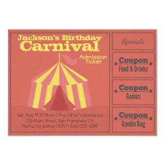 Barns födelsedagparty: Karnevalerkännandebiljett 12,7 X 17,8 Cm Inbjudningskort
