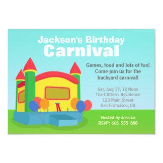 Barns födelsedagparty - lycklig trädgårdkarneval 12,7 x 17,8 cm inbjudningskort