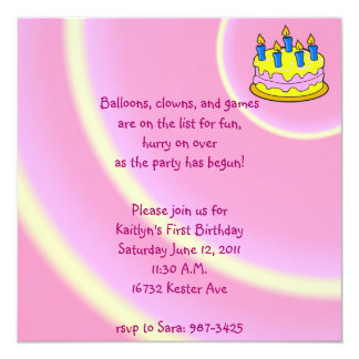 Barns födelsedagpartyinbjudan fyrkantigt 13,3 cm inbjudningskort