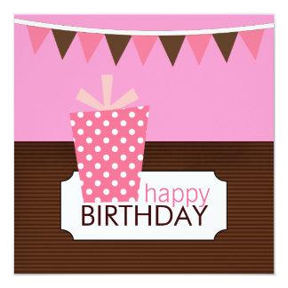 Barns födelsedagpartyinbjudningar (för en flicka) fyrkantigt 13,3 cm inbjudningskort