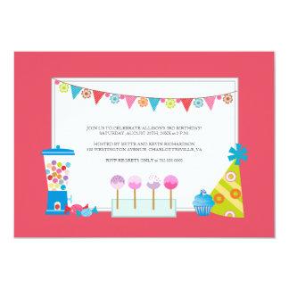 Barns födelsedagpartyinbjudningar {godisbuffé} 12,7 x 17,8 cm inbjudningskort