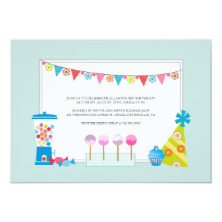 Barns födelsedagpartyinbjudningar {godisbuffé} unika inbjudningar