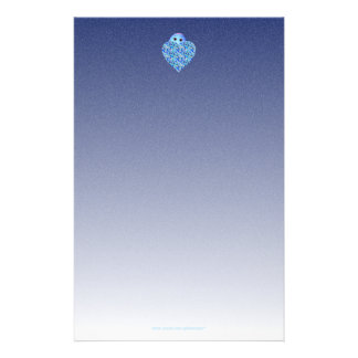 Barns handstilpapper med blåtthjärta brevpapper