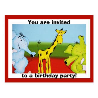 Barns inbjudan för födelsedag för tecknadzoo djur