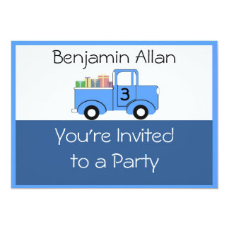Barns inbjudan för lastbilfödelsedag