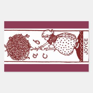 Barns klistermärkear för bokägarmärke för ABC-träd Rektangulärt Klistermärke