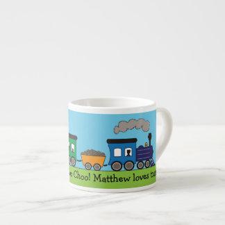 Barns mugg för tåg för Choo Choo ånga Espressomugg