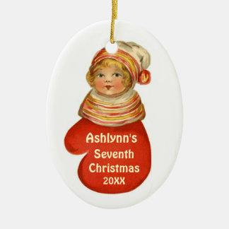 Barns vintage X103C för namn för anpassningsbar fö Juldekoration