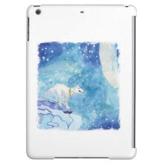 Barnslig vattenfärgmålning med den snöig vargen