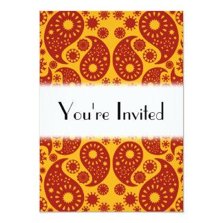 Bärnstengult och mörk - röda Paisley. 12,7 X 17,8 Cm Inbjudningskort