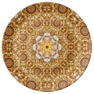 Bärnstensfärgad Mandala Porslinstallrik