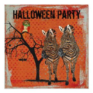 Bärnstensfärgad zebror & rosa ugglaHalloween Fyrkantigt 13,3 Cm Inbjudningskort