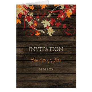 Barnwood lantlig höst löv bröllopsinbjudningar hälsningskort