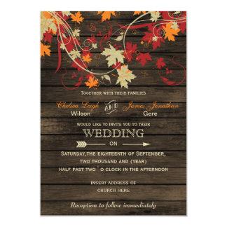 Barnwood lantliga höst löv bröllopinbjudningar 12,7 x 17,8 cm inbjudningskort