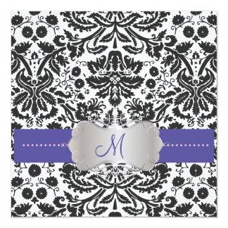 Barocka snöre-/lavendelblåttinbjudningar fyrkantigt 13,3 cm inbjudningskort