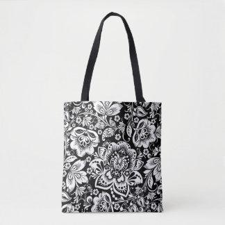 Barockt blom- damastmönster för elegant vit tygkasse