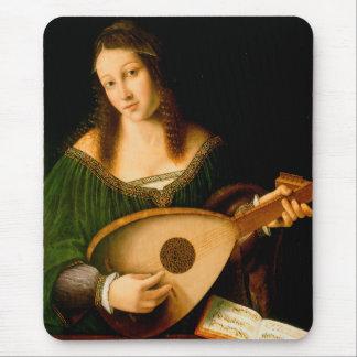 Bartolomeo Veneto dam som leker Luteporträttkonst Musmatta