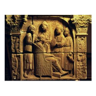 Bas lättnad av en frisör, romare vykort
