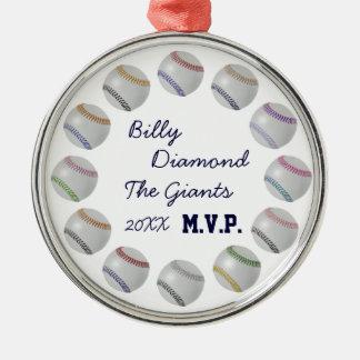 Baseball Fan-tastic_Color Laces_Circle av bollar Rund Silverfärgad Julgransprydnad