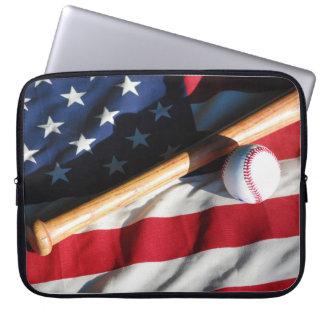 Baseball-, fladdermöss- och amerikanska laptop sleeve