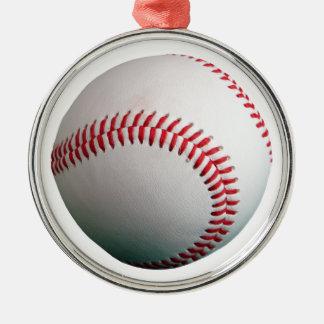 Baseball med rött sy julgransprydnad metall
