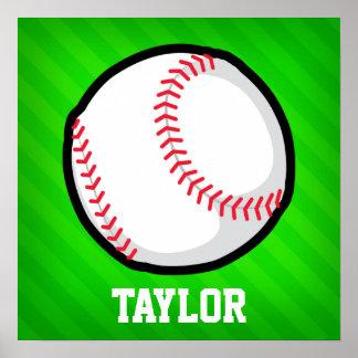 Baseball; Neongröntrandar Poster