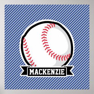 Baseball på blått- & vitrandar affisch