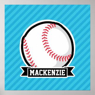 Baseball på himmelblåttrandar affisch