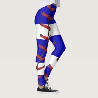 Baseball syr blått och vit leggings