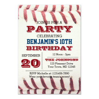 Baseballfödelsedaginbjudan 8,9 X 12,7 Cm Inbjudningskort