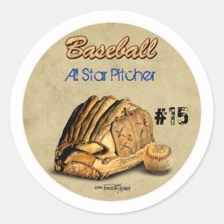 Baseballhandske - brunt läder runt klistermärke