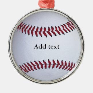 Baseballsportar Rund Silverfärgad Julgransprydnad