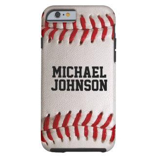 Baseballsportstruktur med personlignamn tough iPhone 6 fodral