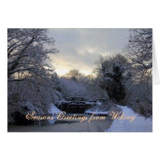 Basingstoke kanal i vintersnöjulkort hälsningskort