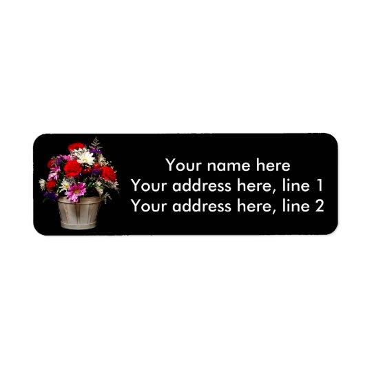Basket av blommor returadress etikett