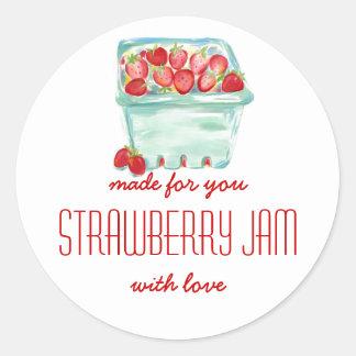 Basket av jordgubbesyltetiketter runda klistermärken