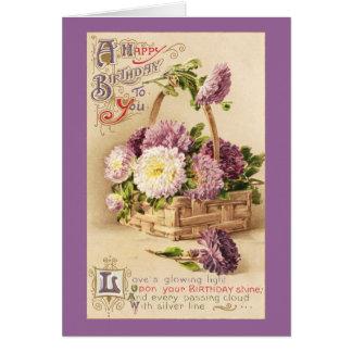 Basket av morsavintagefödelsedagen hälsningskort