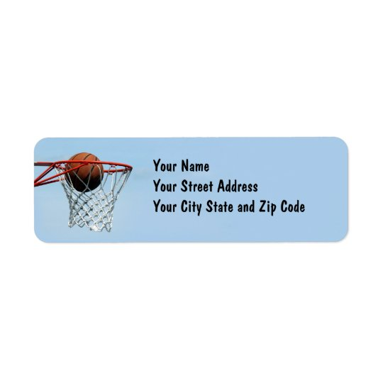 Basketball. Returadress Etikett