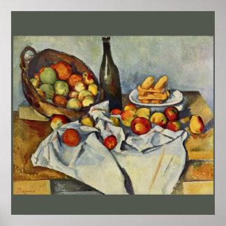 Basketen av äpplen av Paul Cezanne Poster