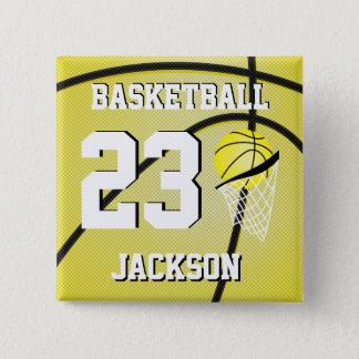 Basketgult och vit | personifierar standard kanpp fyrkantig 5.1 cm