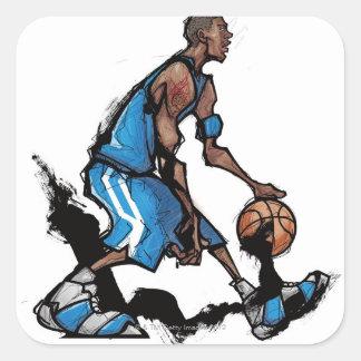 Basketspelare som dreglar boll fyrkantigt klistermärke