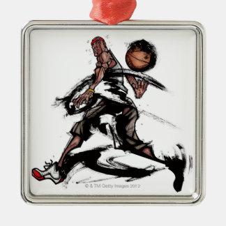 Basketspelare som leker med basket julgransprydnad metall