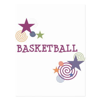Basketstjärnor och virvlar runt vykort